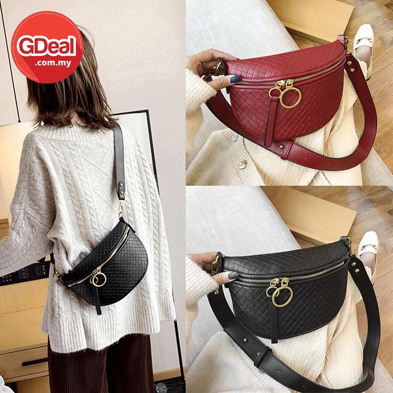 GDeal Korean Women Fashion Wild Casual Chest PU Leather Bag Single Shoulder Beg Wanita بيڬ وانيتا