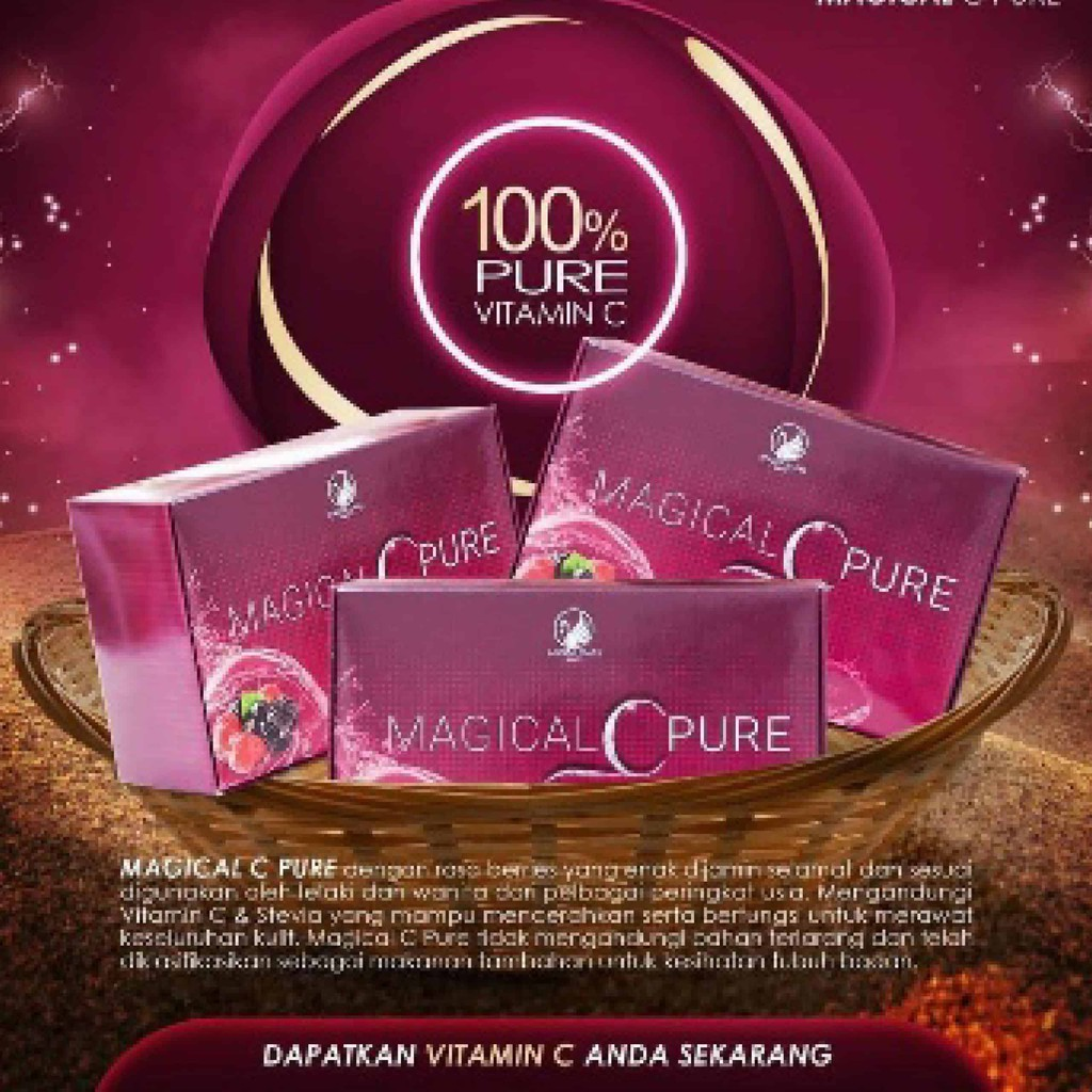 MAGICAL C PURE EXTRA GLOW 15SACHET X 2GRAM 100% ORIGINAL HQ+FREEGIFT