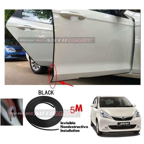 Perodua Myvi LB/Icon -5M(BLACK)Door Trim Rubber Scratch Protector Tape (4 Doors)