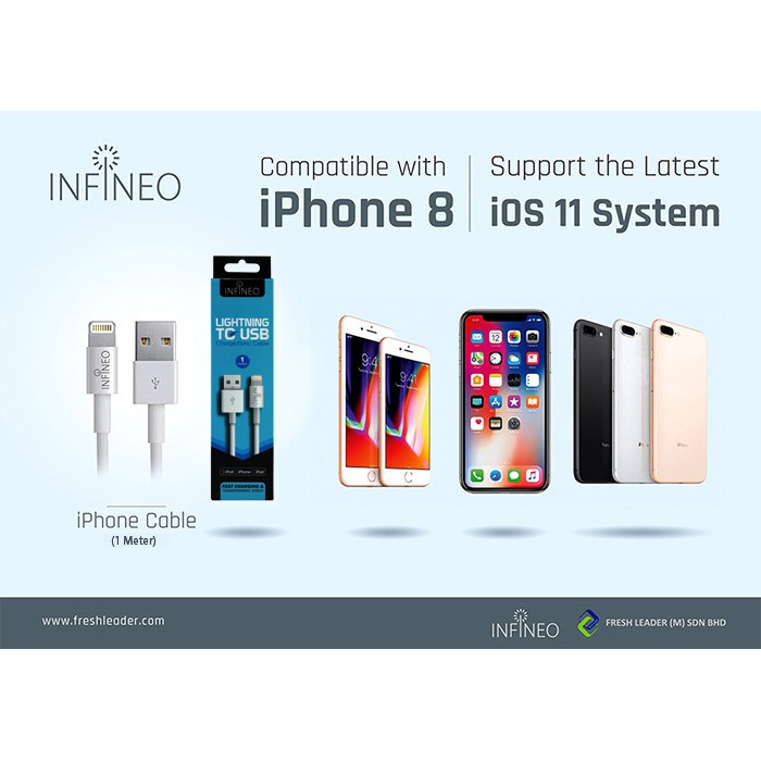 (FREE 6 in 1 Cable Tie) INFINEO 1 Meter 8Pin Lightning to USB Cable Support iOS