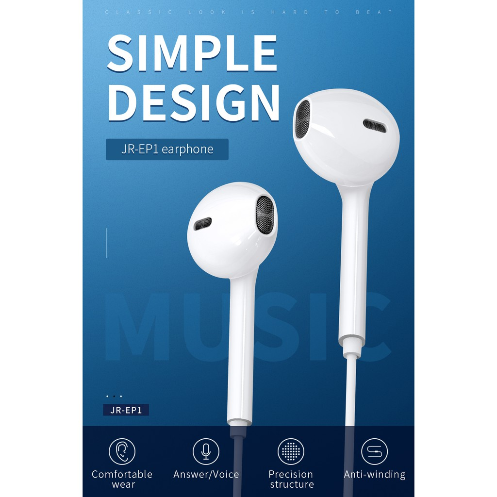 Joyroom EP1 Wired In-Ear Earphones Earbuds for iPhone Earphones Android  with Microphone Volume Control
