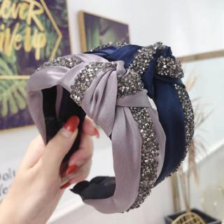 Glitter Women/'s Imitation Crystal Head Band Velvet Diamond Tie Bow Wide Hairband