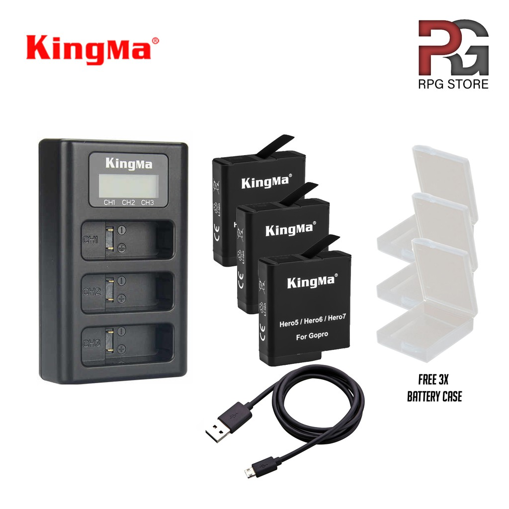 KINGMA 3-Slot Charger with LCD & 3PCS Batteries for GoPro HERO5/6/7
