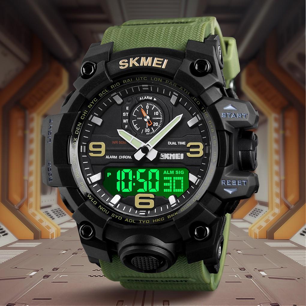 SKMEI 1586 Men Dual Time Waterproof Sport Watch