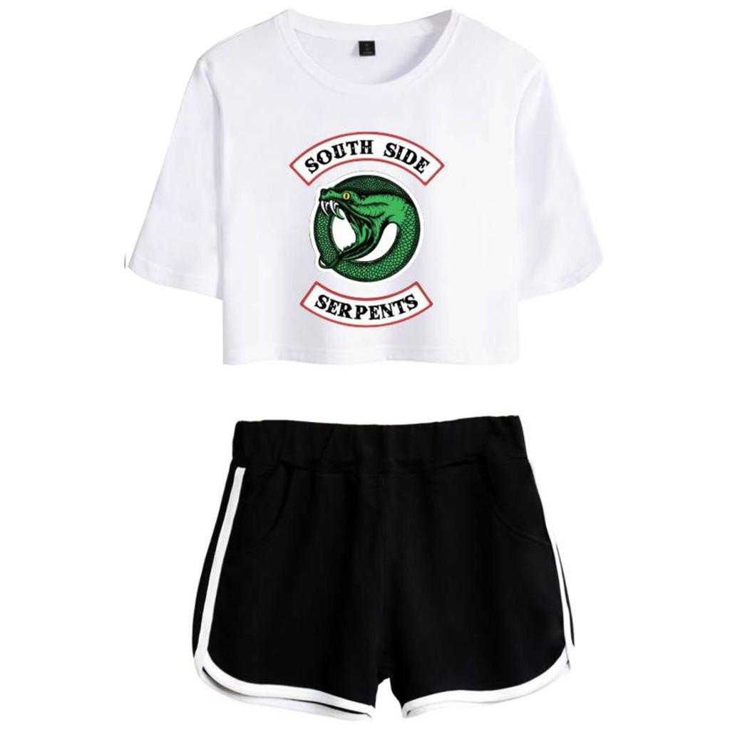 Eudolah Womens Riverdale Crop Top T-Shirts and Shorts Suit Southside Serpents Printed Clothes Set