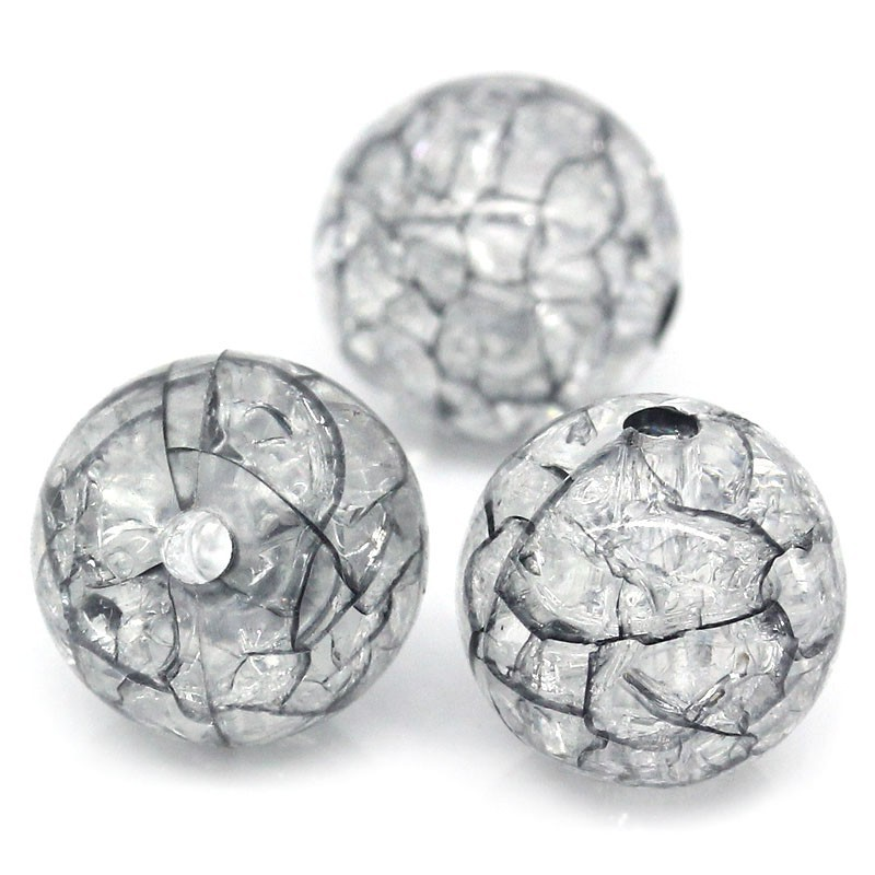 """4//8/"""" Dia. New 100PCs Acrylic Crackle Round Ball Spacer Beads Black 12mm"""