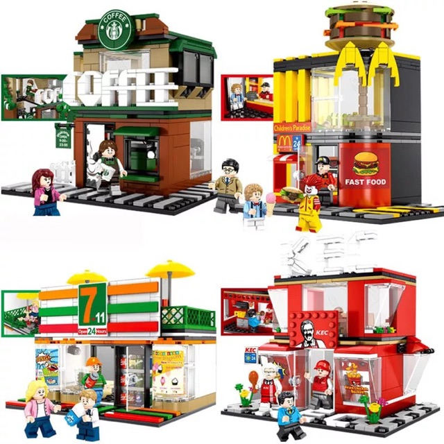 City Store 7-11 Model Building Blocks Compatible Legoed Minecrafted Street View Collection Bricks Boy Toys 320 Pieces Quality And Quantity Assured Stacking Blocks