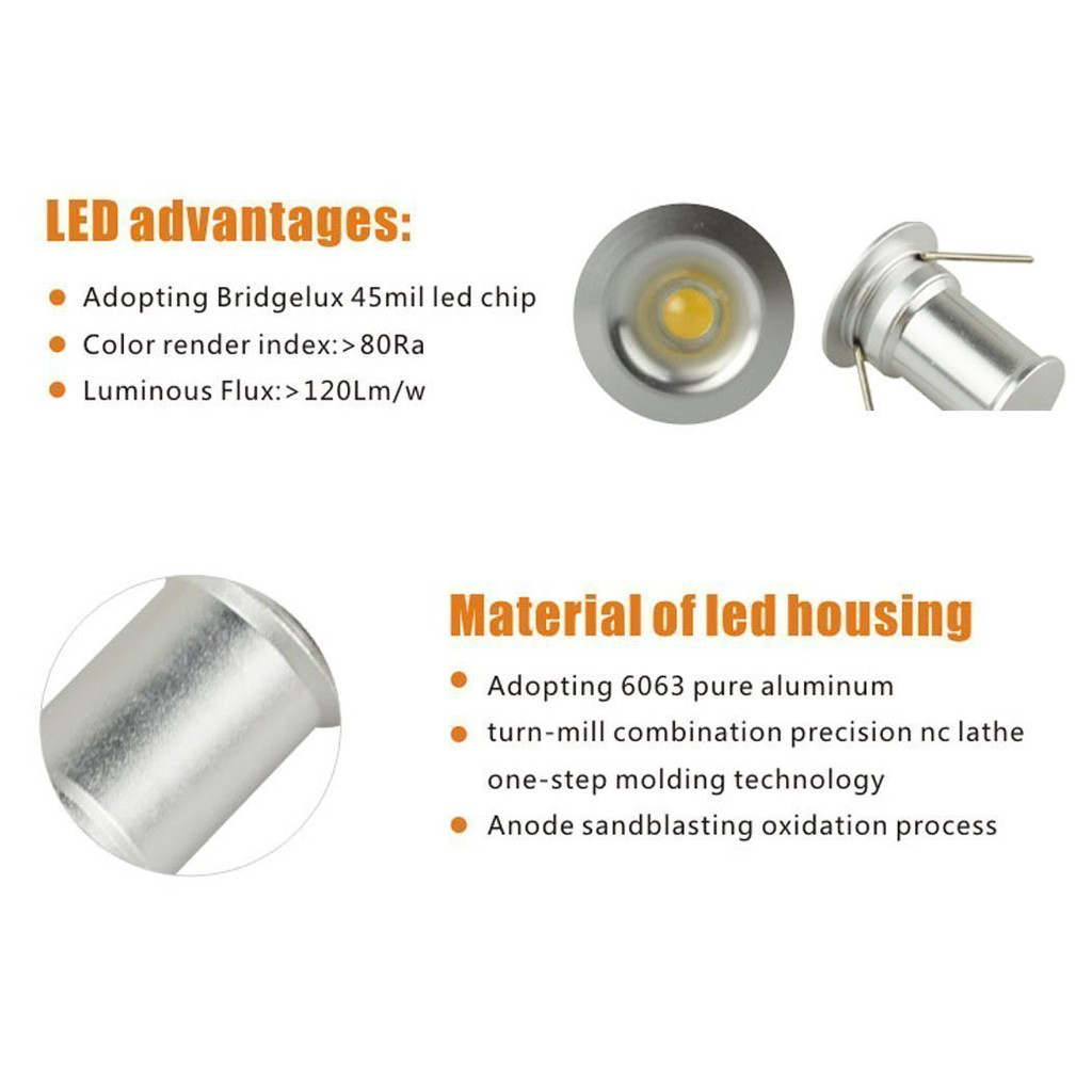Aiboo 12V Under Cabinet LED Lights 9 Packs of Recessed Mini Downlights with