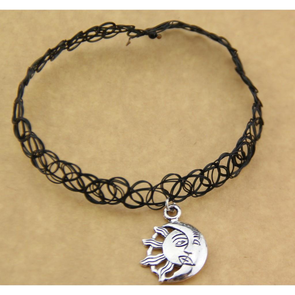 1b5cbeee1ff6d 80s 90s Vintage Stretch Sun Moon Tattoo Choker Necklace Gothic Punk Elastic  6pcs