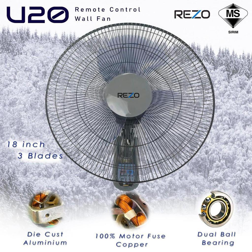 "REZO U20 (Remote Control) / U10 Pull String 18"" Wall Fan 3 Blades Installation Provided Kipas Dinding Big Wall Hardware"