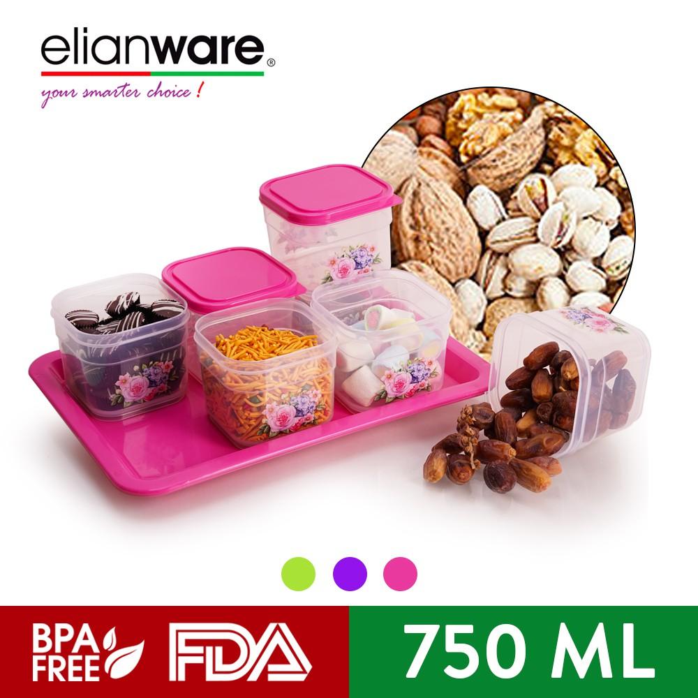Elianware Bekas Kuih Raya Cookies Snacks Airtight Container with Tray Candy Tray(6 Pcs)