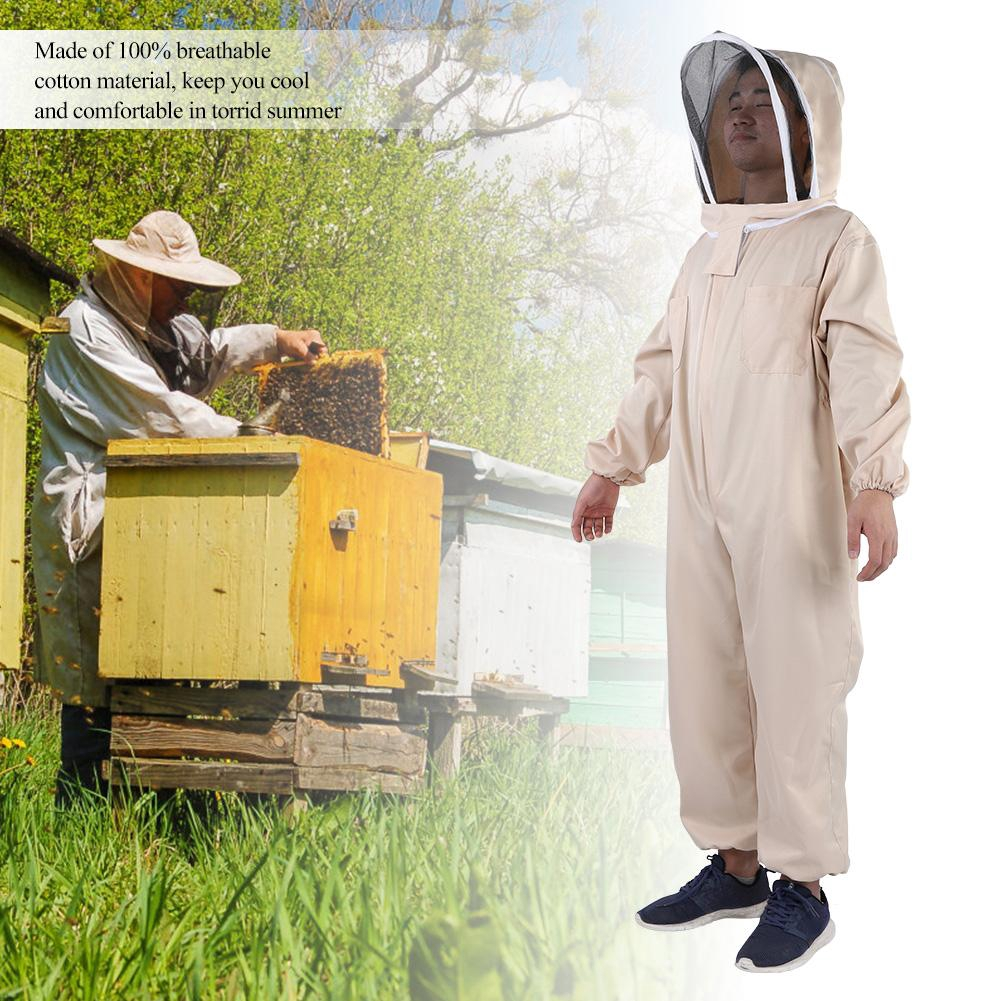 US Full Body Beekeeping Suit Jacket Bee Honey Keeping Equipment with Veil Hood L
