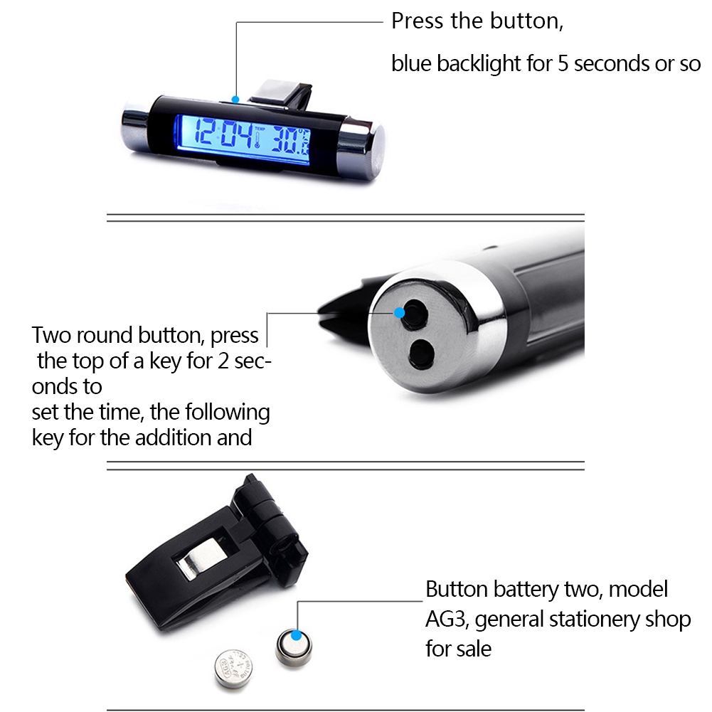 2in1 Led Digital Car Clock Thermometer Temperature Auto Lcd