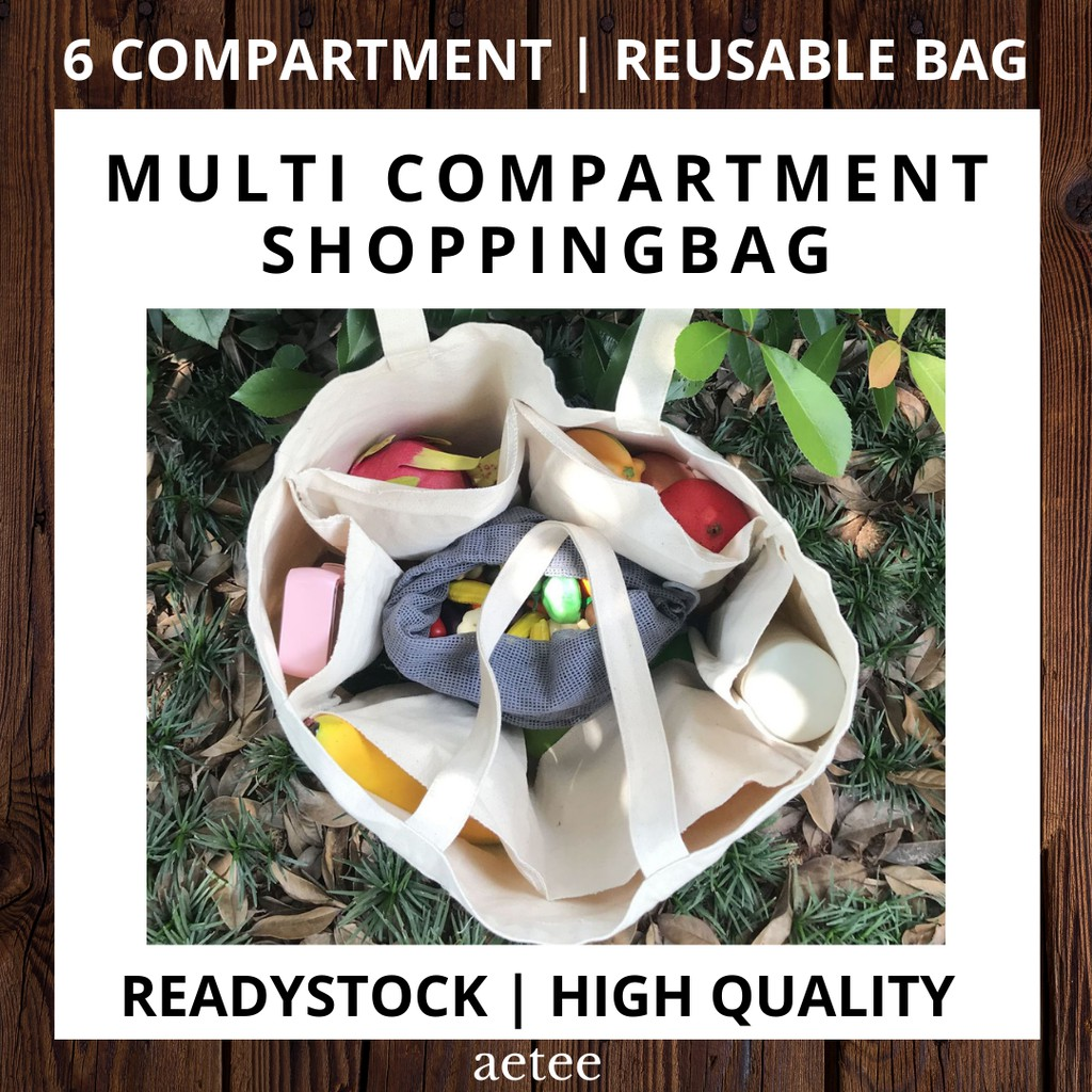 Large Size Grocery Reusable Tote Bag with 6 divider compartment | Canvas Compartment Shopping Bag [aetee]