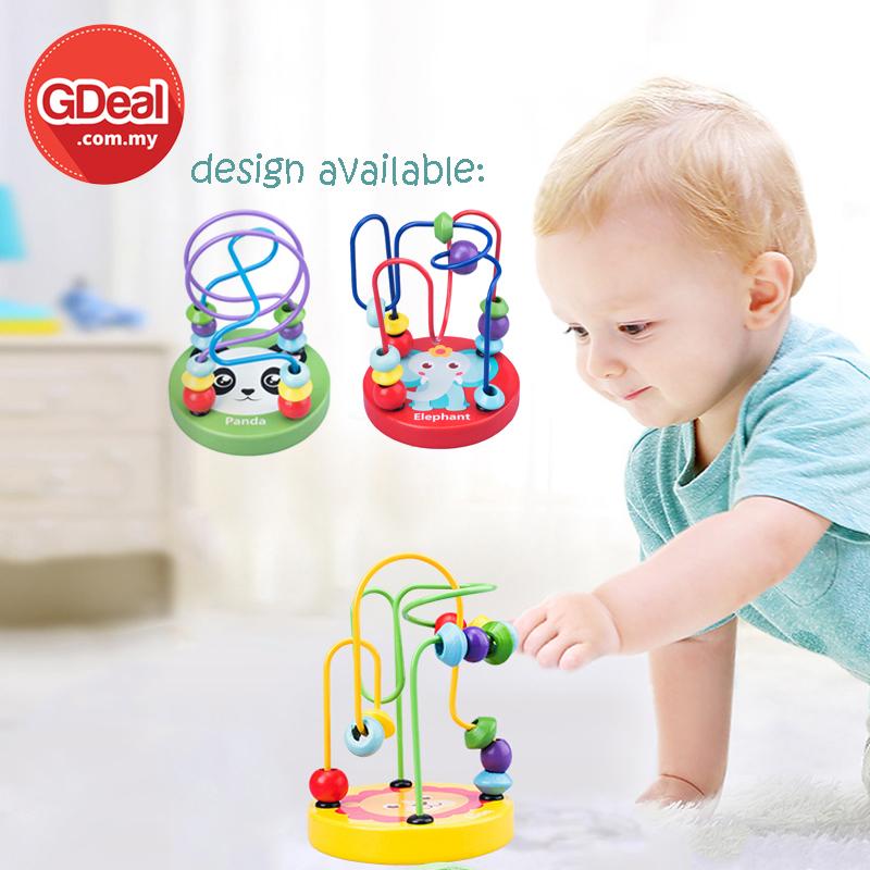 GDeal Baby Educational Wooden Toys Mini Round Bead Animal Labyrinth Permainan Bayi ڤرماءينن بايي
