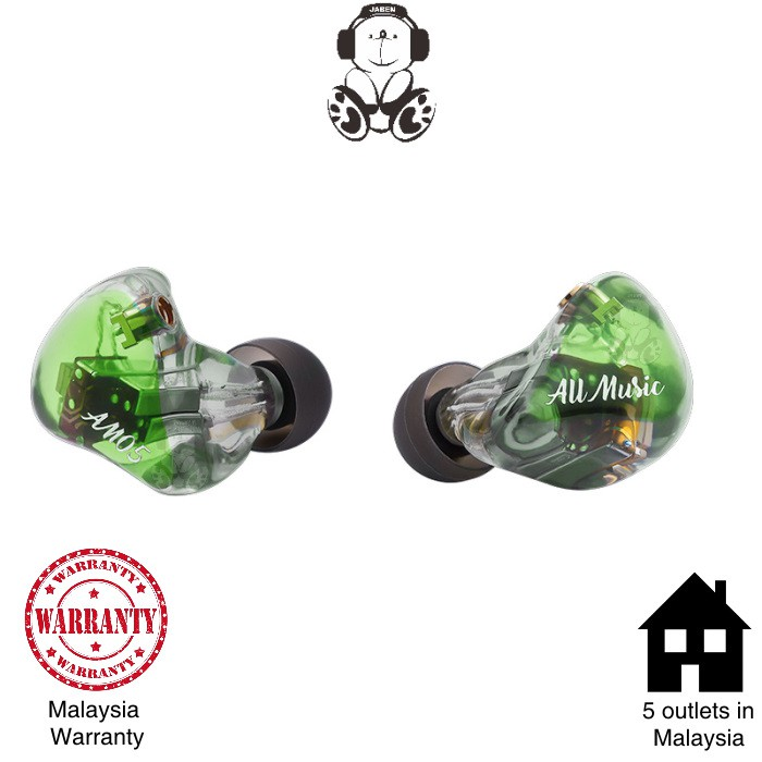 iBasso AM05 Hi-Res Penta 5 Knowles IEM Silver Plated OCC MMCX Cable In-Ear Earphones - Emerald Green