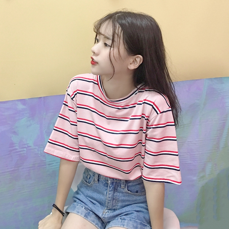 Korean Striped Short Sleeved T Shirt Female Fashion Loose Student T Shirt Shopee Malaysia