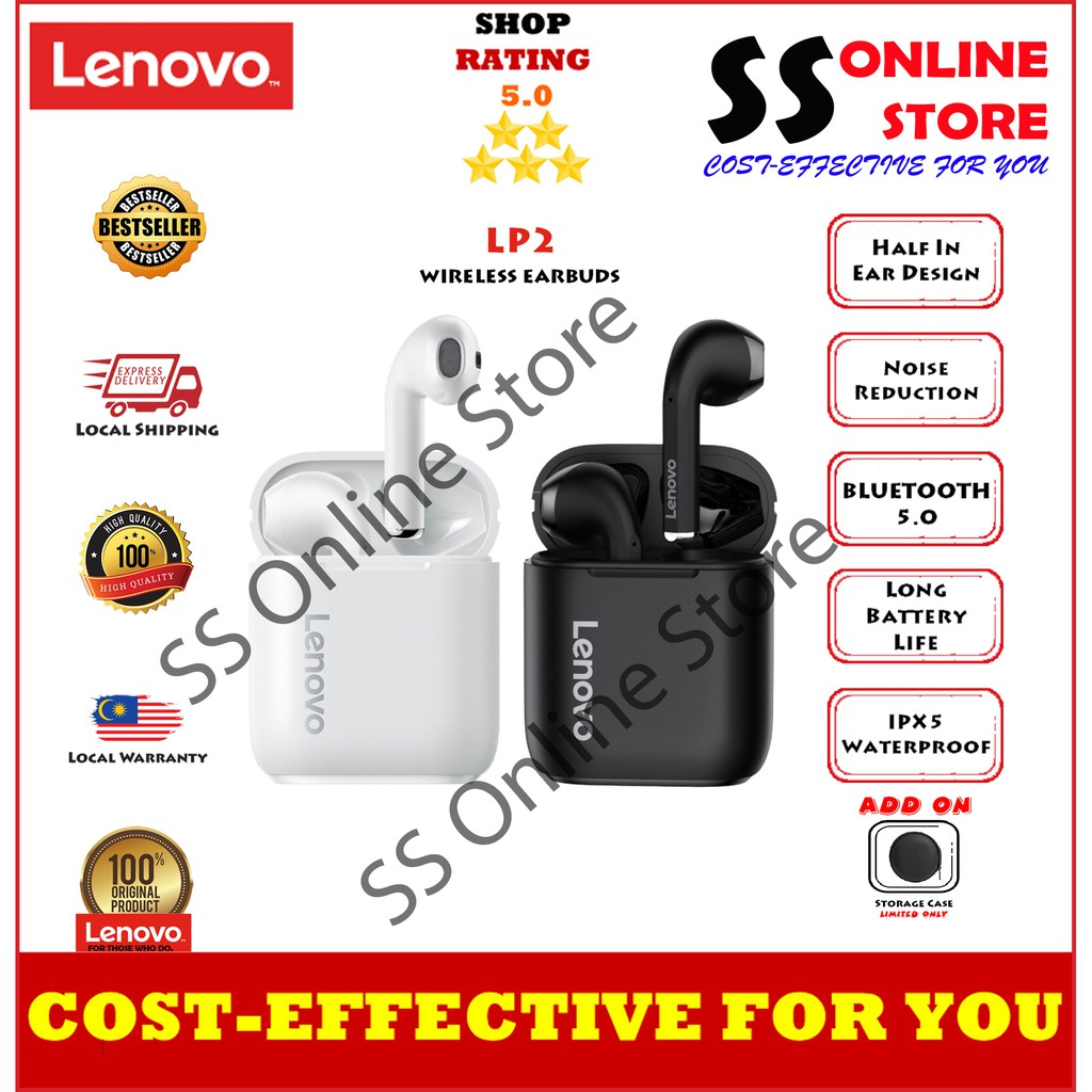 Lenovo LP2 TWS Wireless Earphone Bluetooth 5.0 Dual Stereo Bass Touch Control LP1 UPDATED VERSION 350MAH