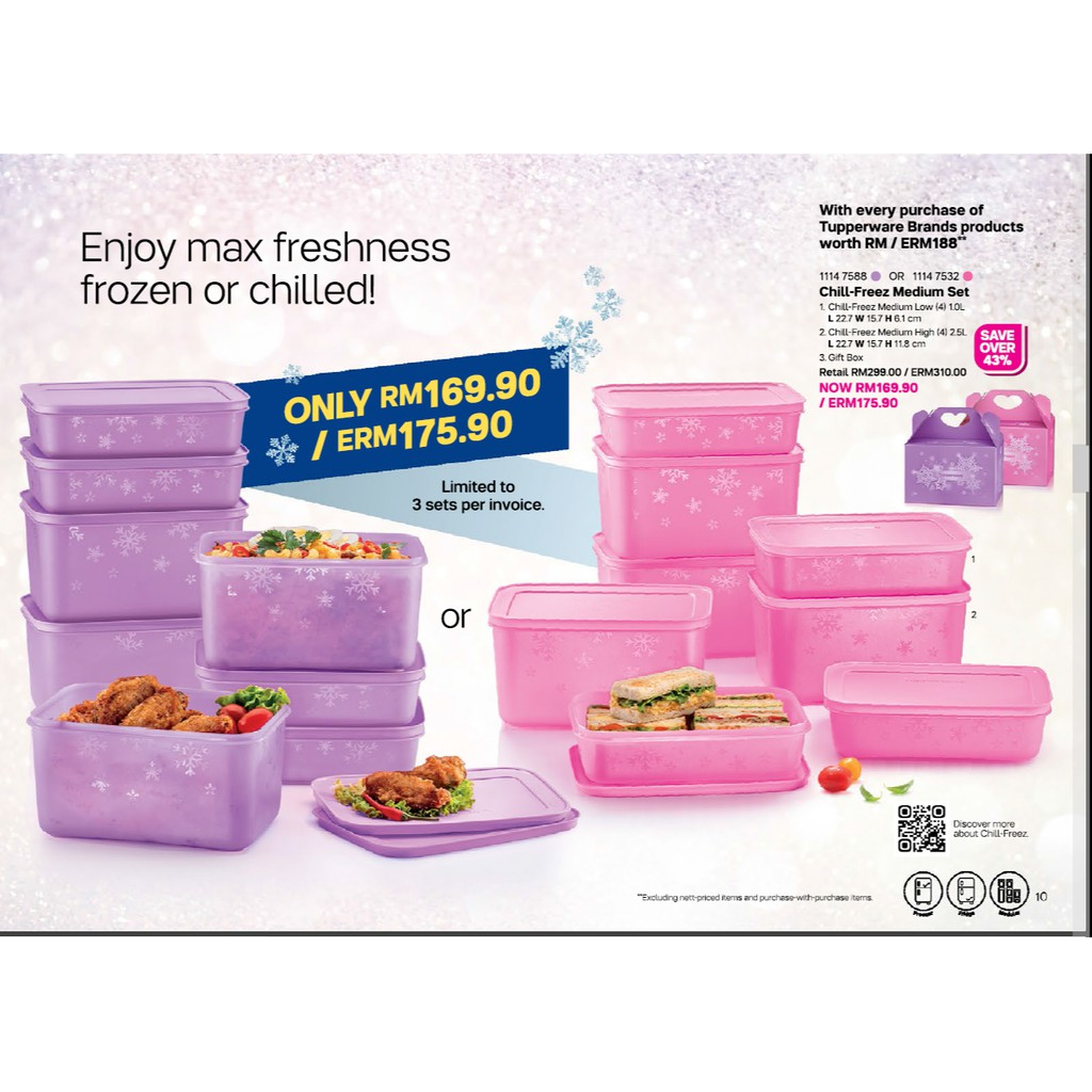 TUPPERWARE CHILL FREEZE MEDIUM SET C/W GIFT BOX / PURPLE / PINK ONLY / (4)1.0L AND (4)2.5L