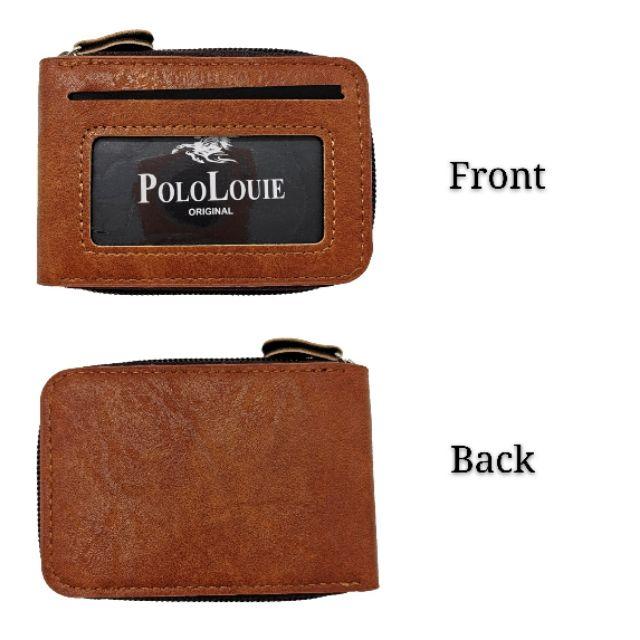 Original Polo Louie Fashion Leather Card Holder Wallet Zipper Men Women Short Wallet Vertical