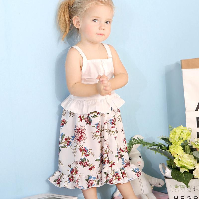 e24e104cc0ad Summer new girl baby suspender top beautiful print skirt set kid clothing  cotton | Shopee Malaysia
