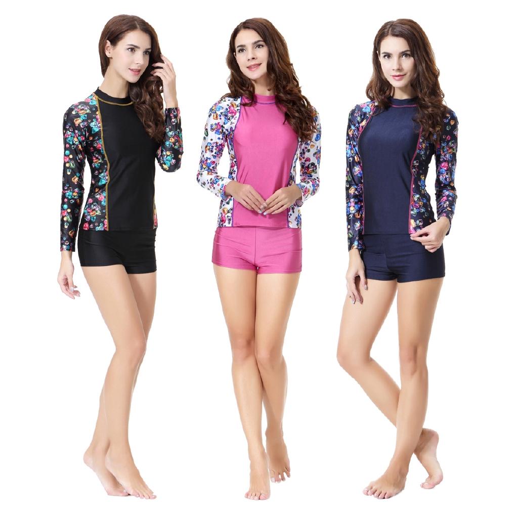 Women S Swimwear Bukini Muslim Swimsuit Conservative Split Swimsuit Long Sleeve Swimwear Shopee Malaysia