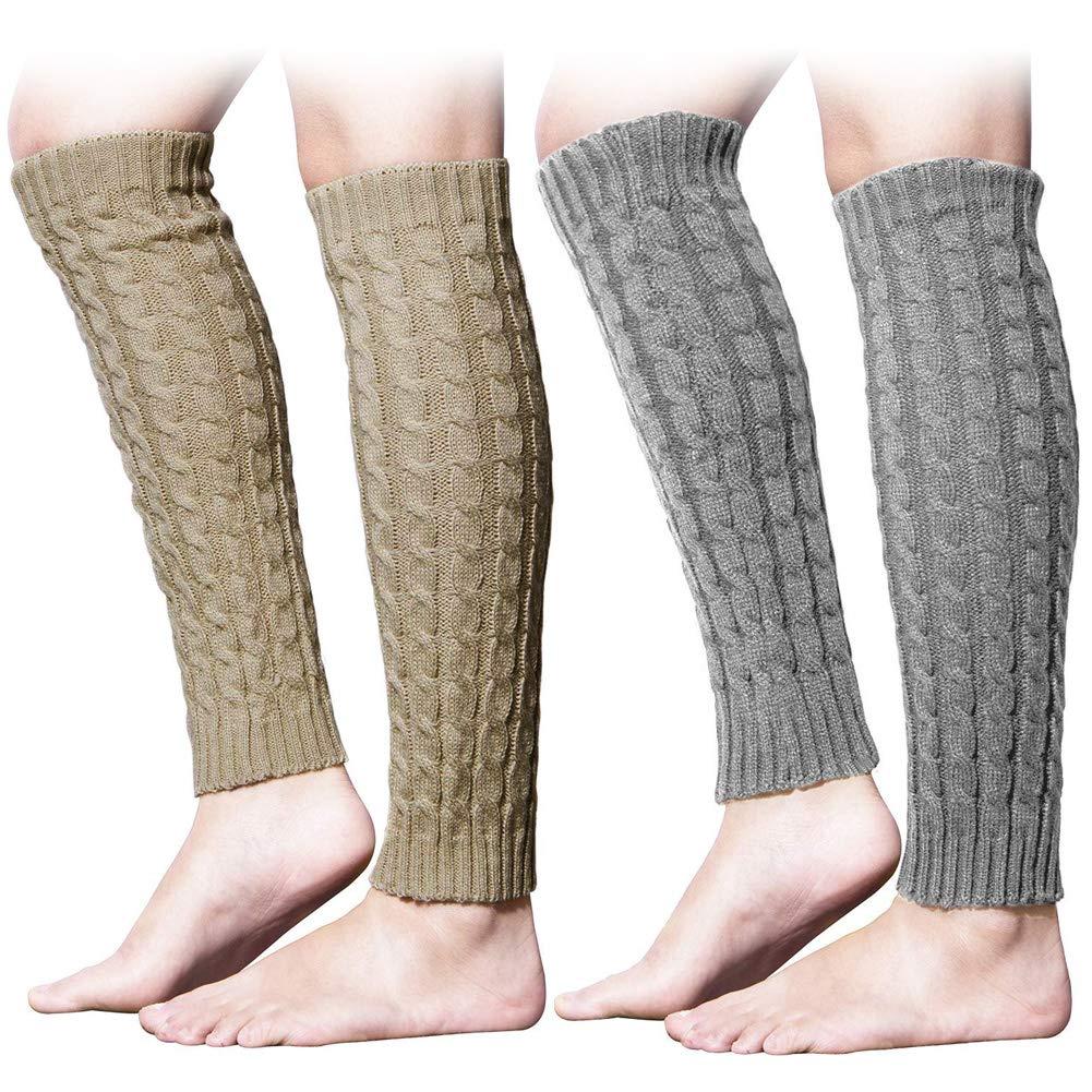 Women Winter Warm Leg Socks Girl Sports Cable Acrylic Knitted Crochet Long Socks