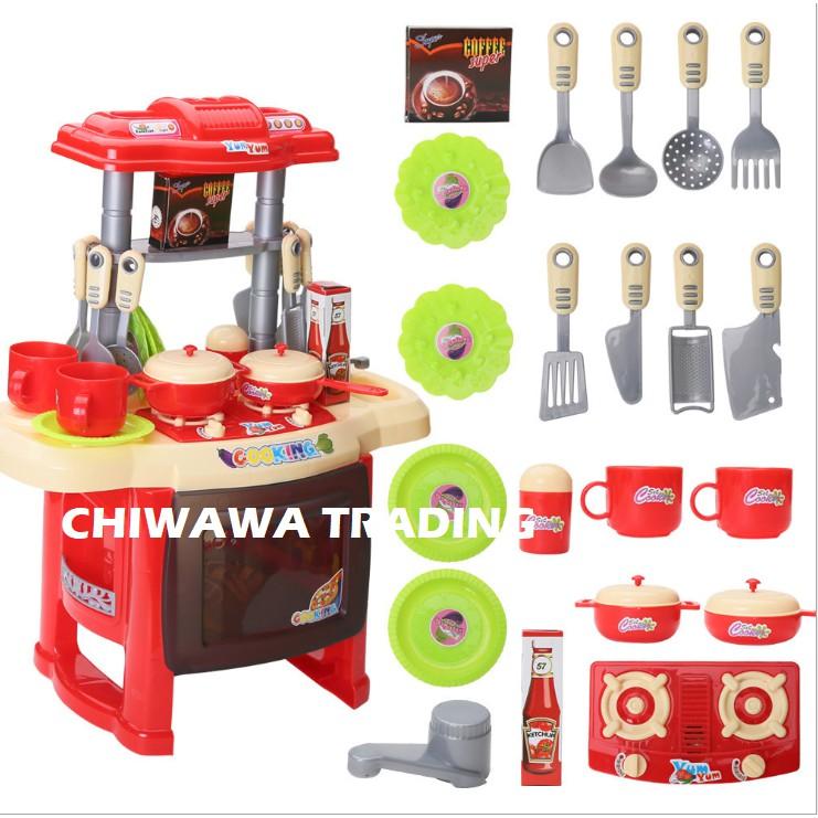 Children Pretend Fun Play Set Early Educational Cooking Toys Kitchen Kitchenware with Full Utensils Set Mainan Kanak