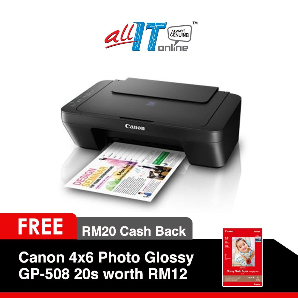 Canon PIXMA E410 All in One Printer (Free Gift Canon Paper 4x6 Photo Glo  GP-508 20s worth RM12 with RM20 Cashback)