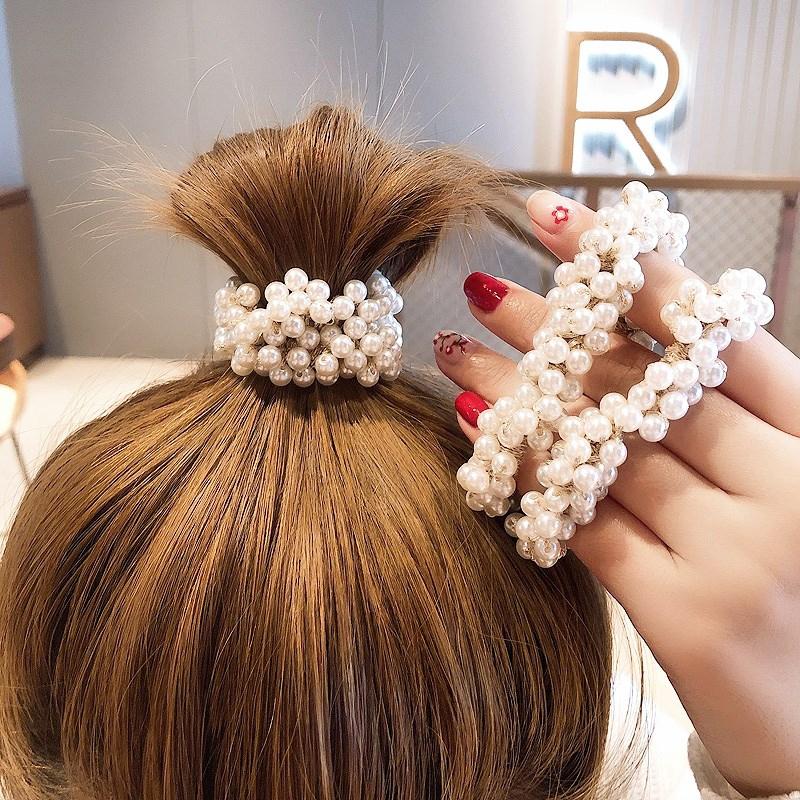 Crystal Hairband Women Hair Scrunchie Ring Elastic Knotted Hair Hoop Headpiece