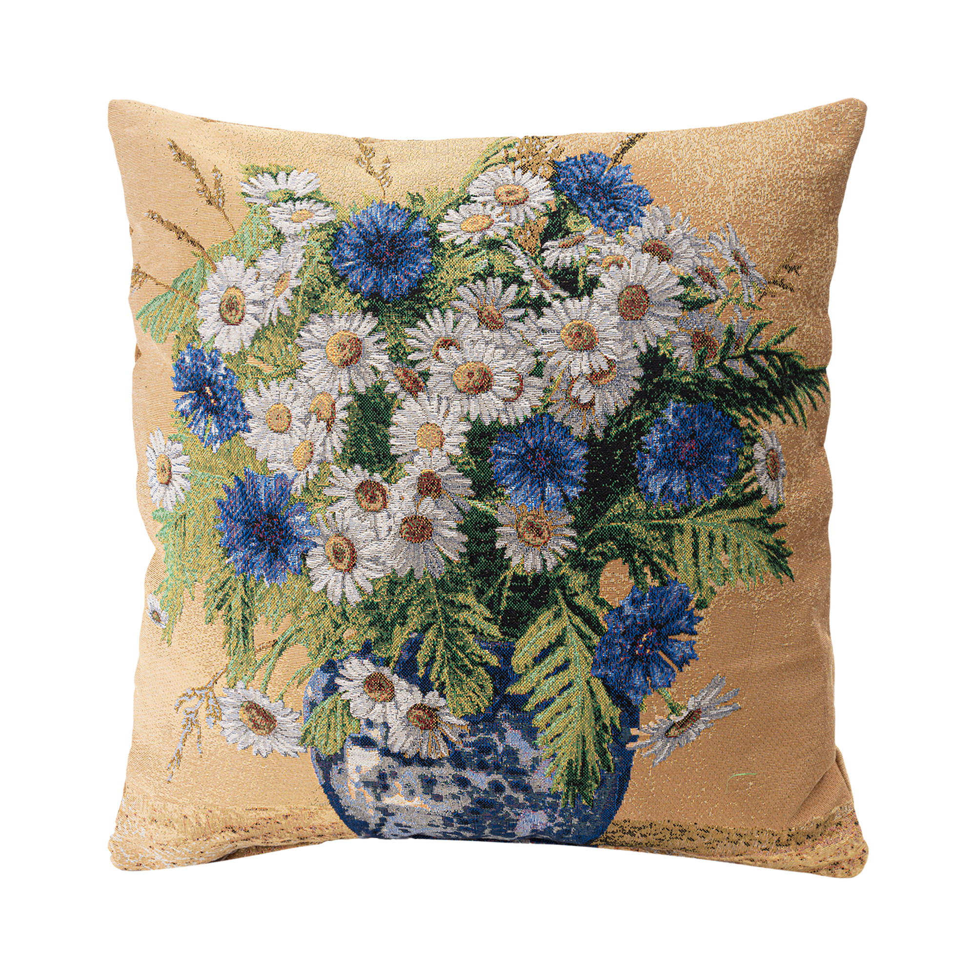 """Daisy Jacquard Woven Cushion Cover/Throw Pillow. Double-Sided Easy Care Polycotton. 45x45cm/18x18""""(Multicolor)"""