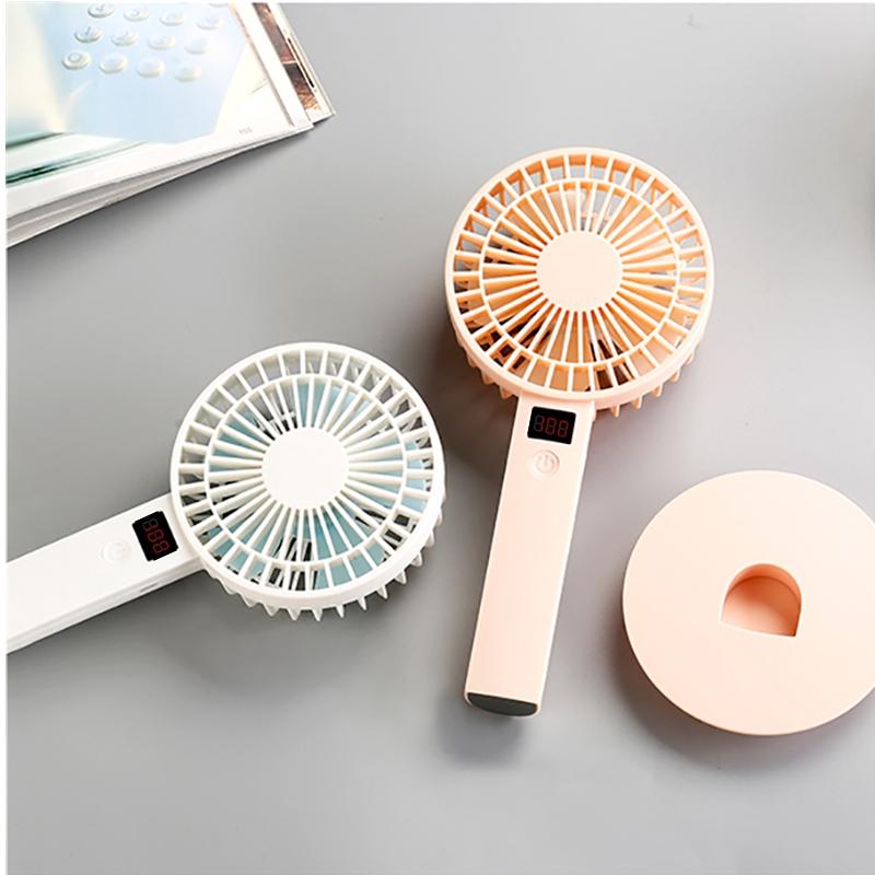 Mini Portable Cooling Fan Summer Mini USB Fan Handheld Anti-Slip Base Fan 1200mAh Battery Simple Color Optional Home Color : Blue