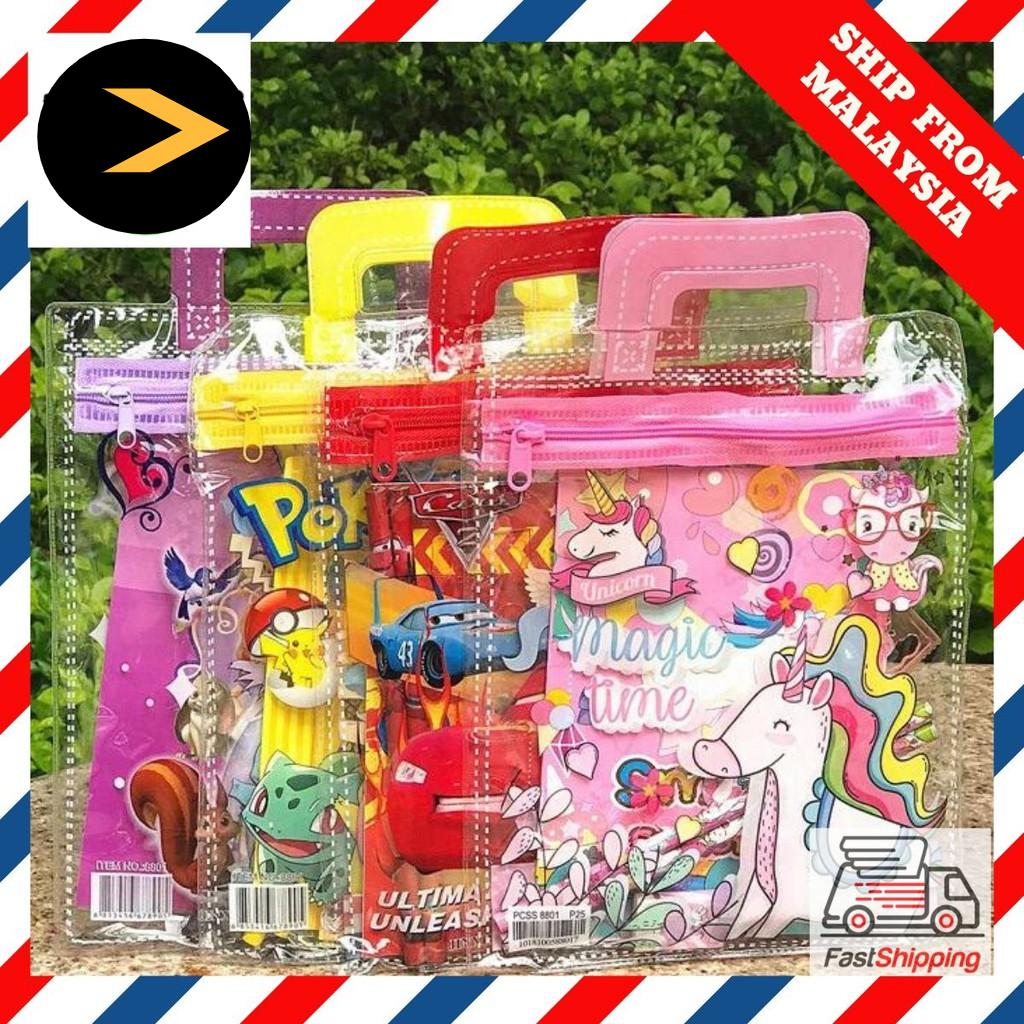 RESTOCKED  Ready Stock Kids Cartoon Stationery Gift Set 7 in 1 Birthday Set Goodies Bag 学生文具套礼物 Alat Tulis