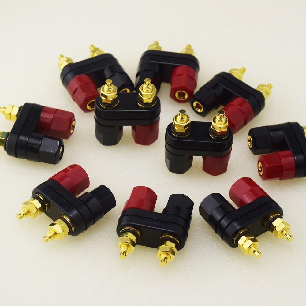 Black Red perfk 2pcs Terminal Binding Post Amplifier Dual Copper 2-way Banana Plug Jack