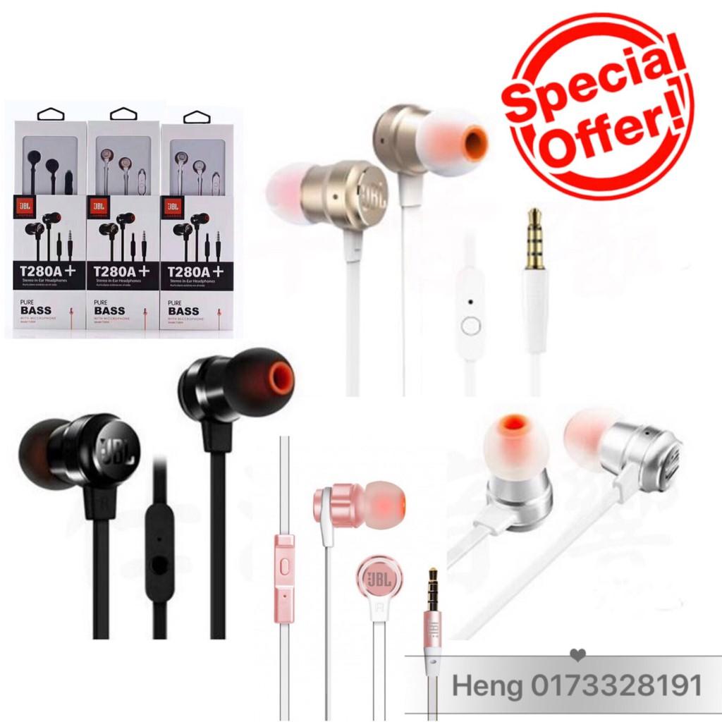 Jbl T290 35mm Wired In Ear Earphones Stereo Music Headset Dynamic Earphone Gold Bass Shopee Malaysia