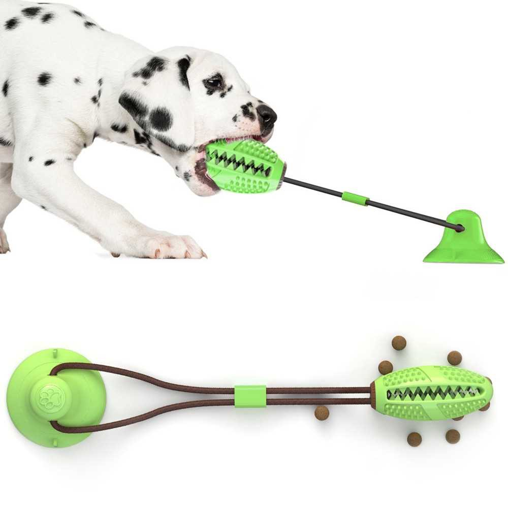 Dog Bite Training Ball Multifunction Pet Chew Toy Practical Suction Cup Dog Pull Ball for Dogs Cleaning Tooth Food Disp