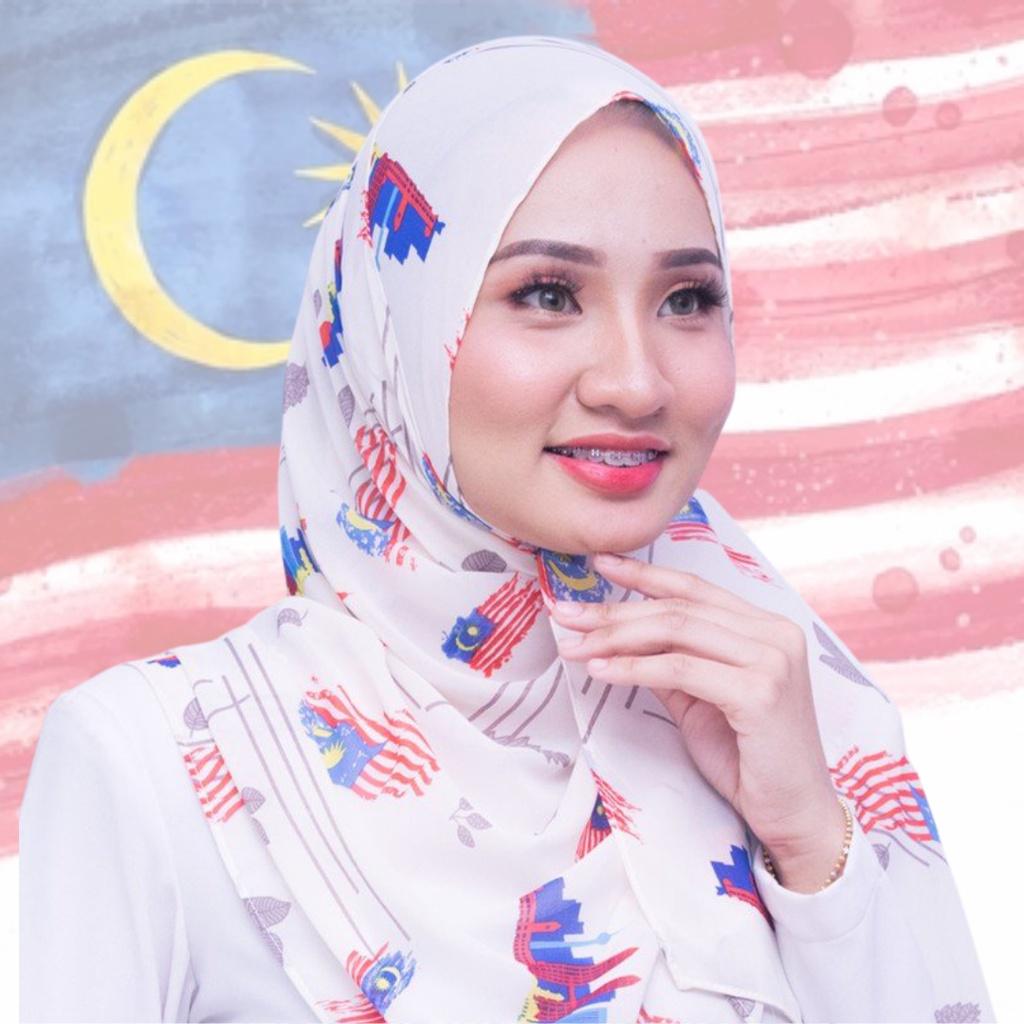 Shawl Chiffon Printed MALAYSIA MERDEKA 2021 murah