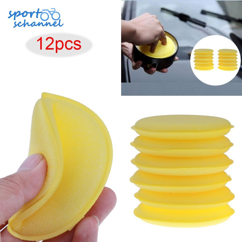 sports-ch ❤ 12pcs/lot Car Yellow Foam Waxing Pads Applicator Polish Vehicle Sponge