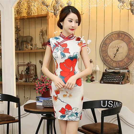 0ed2636d3 Style Women Mini Silk Rayon Cheongsam Qipao Summer Sexy Dress S M L XL XXL