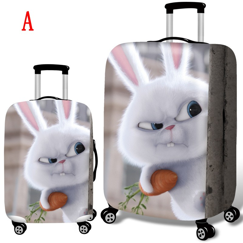 Cute Rabbit Bunny Travel Luggage Cover Spandex Washable Suitcase Protective Cover Baggage Protector Fit 18-32 inch Suitcase