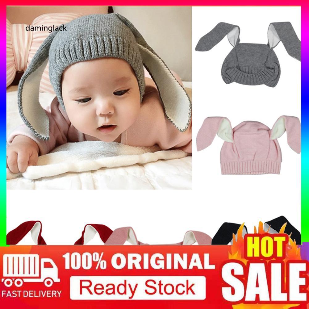 Crochet Earflap Pilot Hats Rabbit Ears Beanie Cap Winter Warm Knit Caps for Baby