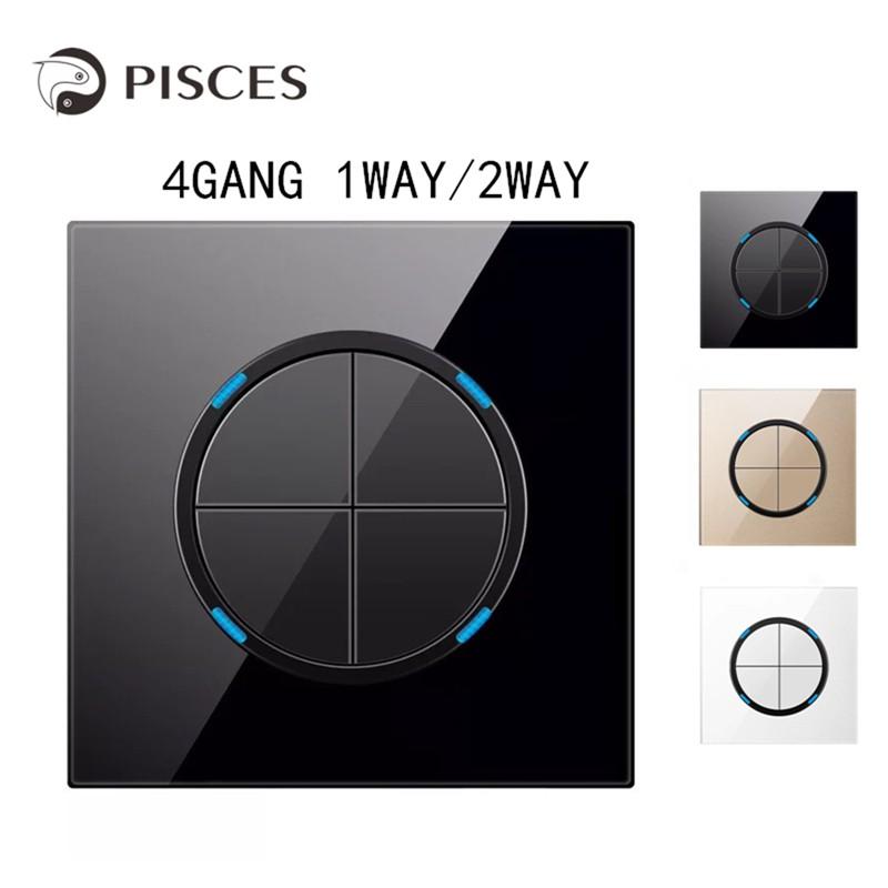 【G11】4Gang 1Way/2Way Black Crystal Glass Switch Panel