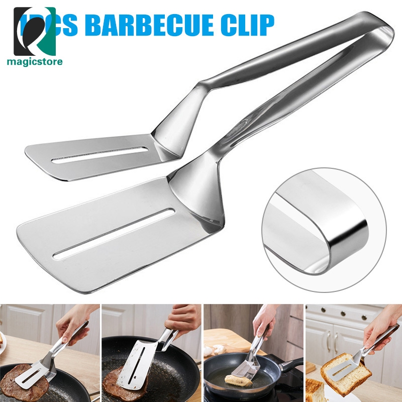 Stainless Steel Salad Bread Clamp BBQ Buffet Roast Food Clip Tong Kitchen Tool