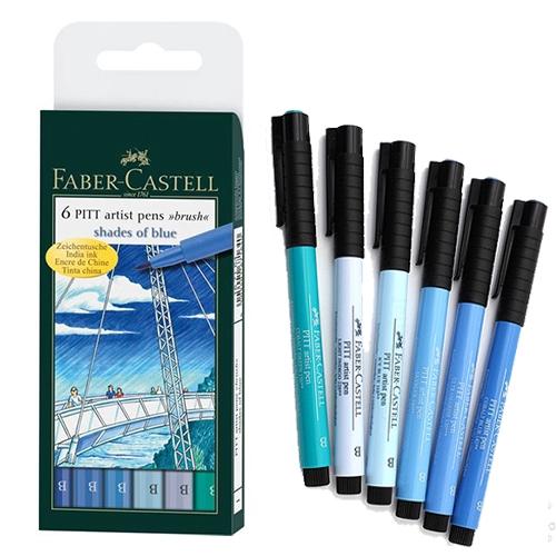 Faber-Castell Pitt Artist Pens SHADES OF BLUE Brush 6 pc set 167164T Brand NEW!