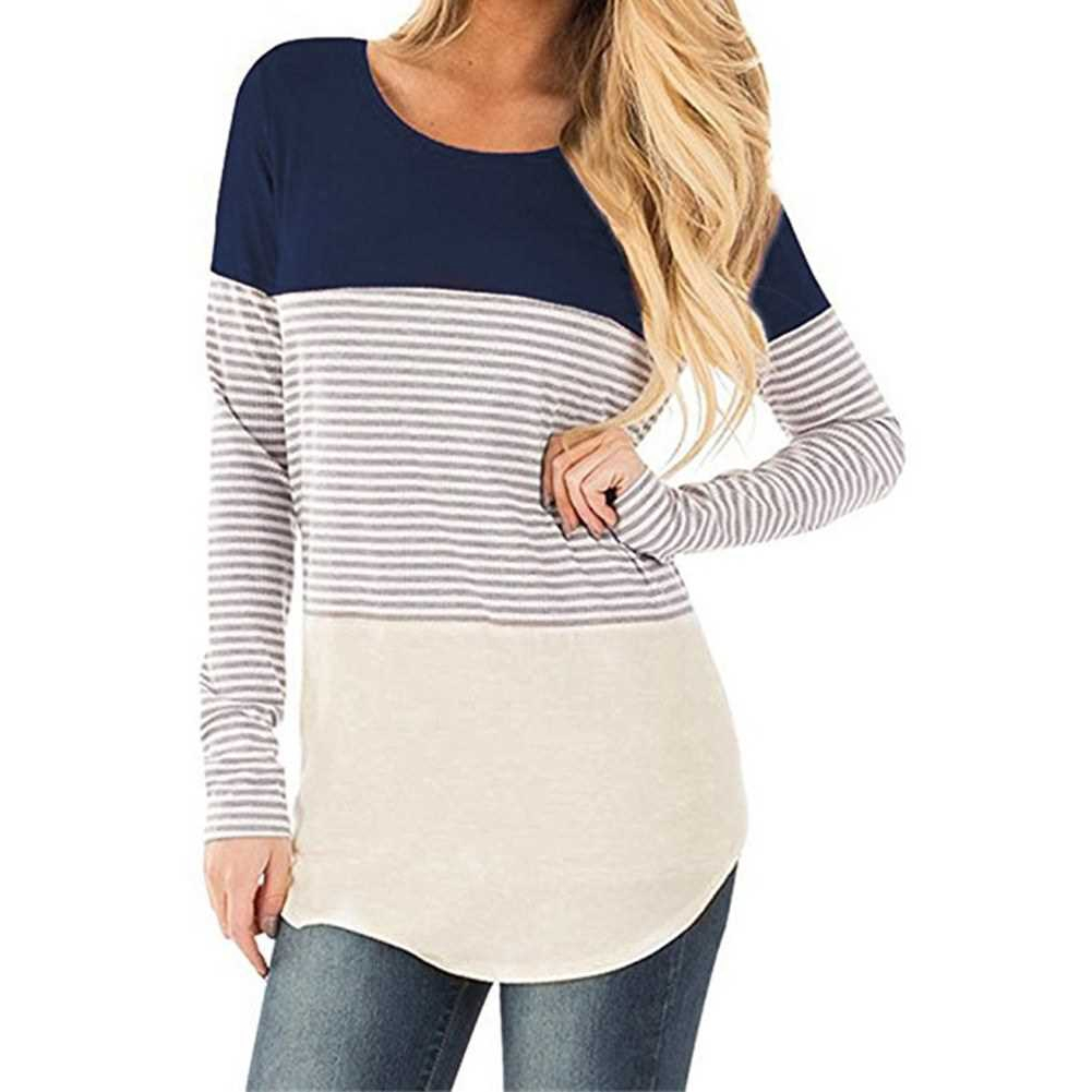 New Women Autumn Long Striped T-shirt Contrast Color Splicing Curved Hem O Neck Long Sleeve Pullover Tops (Dbm)