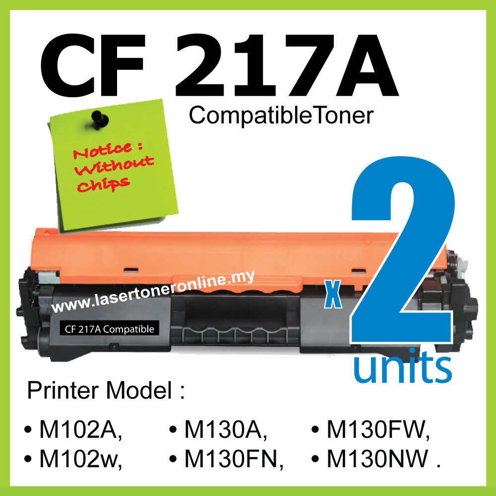 2 x CF217A CF 217A Compatible HP LeaserJet Pro M102 M102a M102w M131fw  M130nw