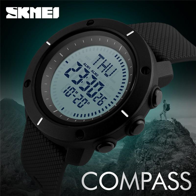 Mens Watch LED Military Outdoor SKMEI Sports Compass Climbing Quartz Digital