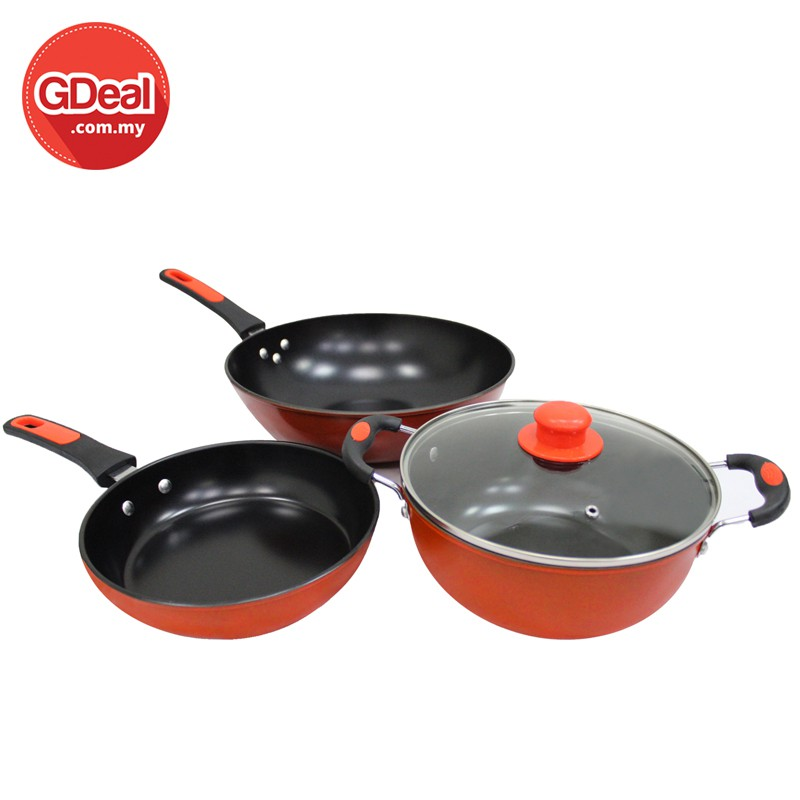 Pan Sets Pots & Pans 4pc Non Stick Casserole Stockpot Square Cookware Pot Set Die Cast Marble Pan Top Watermelons