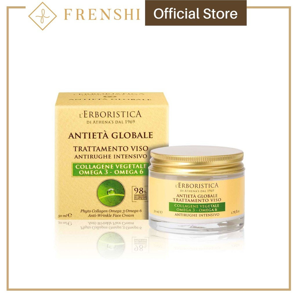Frenshi L'Erboristica (Made in Italy) - GLOBAL AGE PHYTO COLLAGEN OMEGA 3 OMEGA 6 ANTI-WRINKLE FACE CREAM 50ML