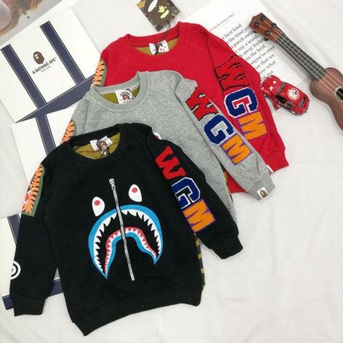 A Bathing Ape Gray Shark Baby Milo Kids Boy Long Sleeve Sweatershirt Hoodie